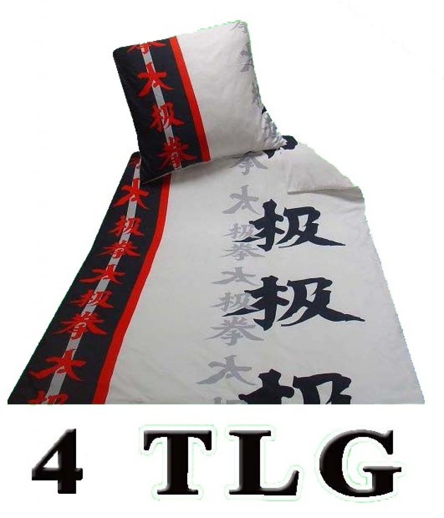 tlg microfaser bettw sche china schrift rot schwarz. Black Bedroom Furniture Sets. Home Design Ideas